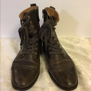 Lucky Brand Women's Boots Combat Brown Leather
